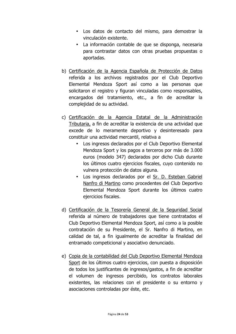 ACLARACIÓN NO AUTORIZACIÓN LIGA DE C.D.E MENDOZA SPORT | \